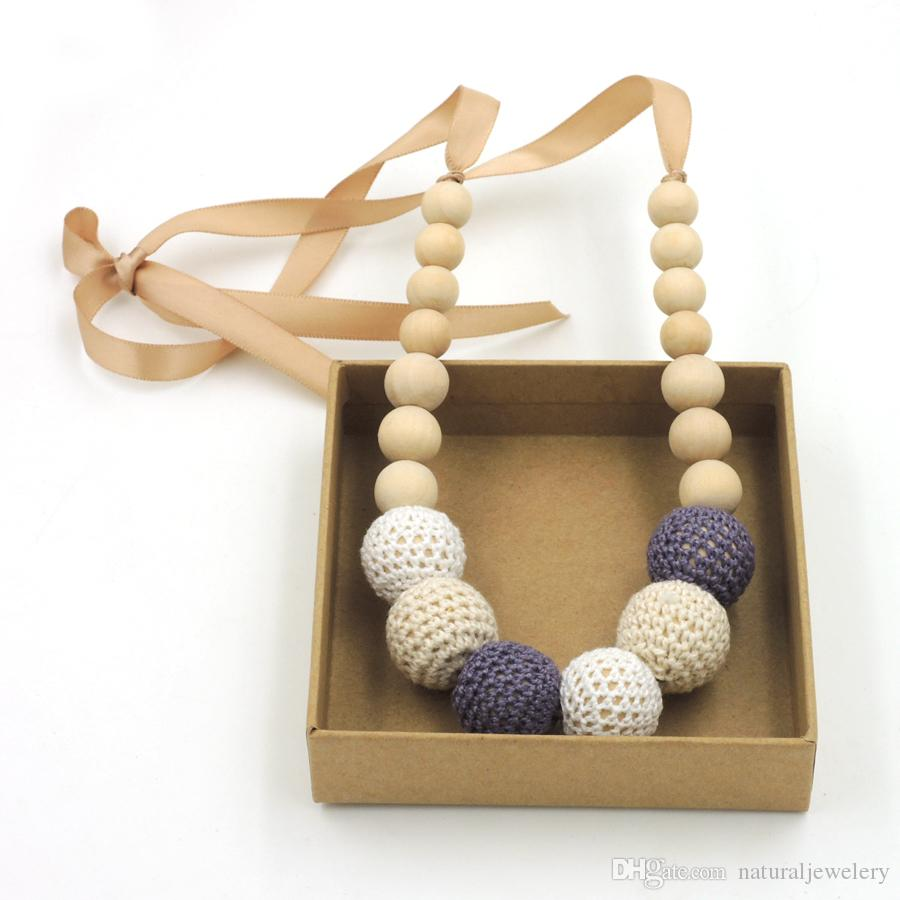 / Fade Grey cream white crochet teething necklace,wood beads baby toy baby teether necklace NW1706