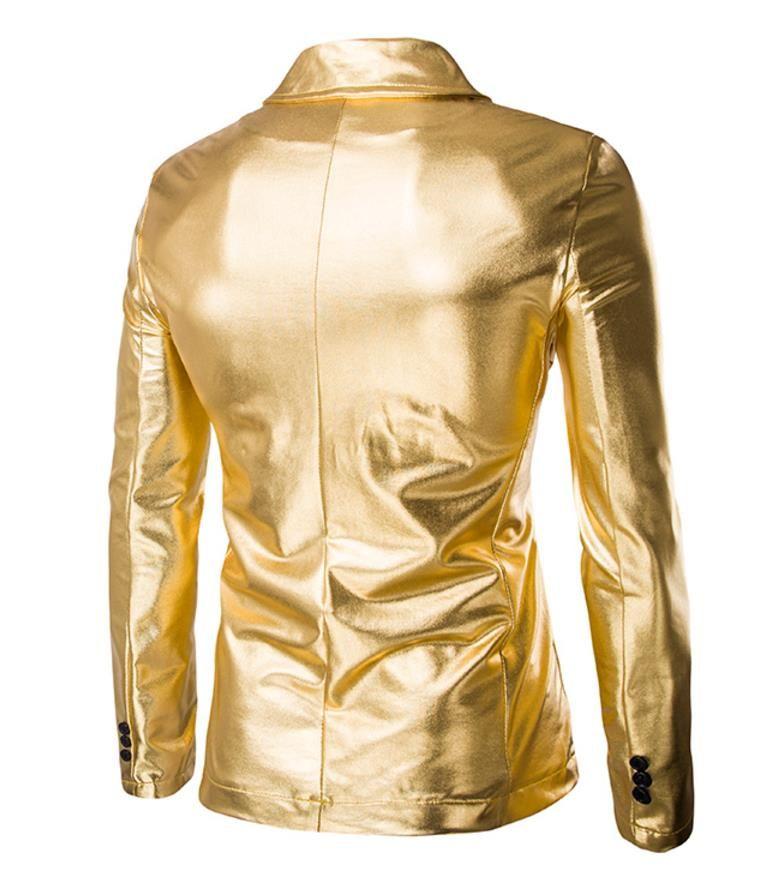 Горячее тиснение костюм блейзер костюмы пальто мужчины Flare яркий золотой серебряный цвет стенд воротник мужской ночной клуб партия куртка пальто Бесплатная доставка X60