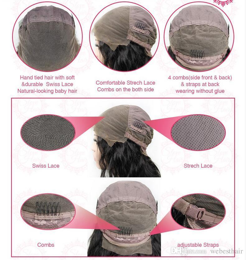 Glueless Virgin Brazilian Wavy Short Cut Human Hair Lace Front Wigs Full Lace Wigs For Black Women Bob Style wig Fast shipping