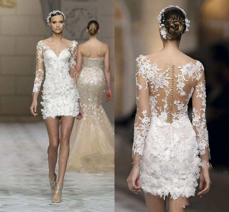 White Wedding Dress Mini: Sexy White Lace Applique Mini Wedding Dresses Illusion