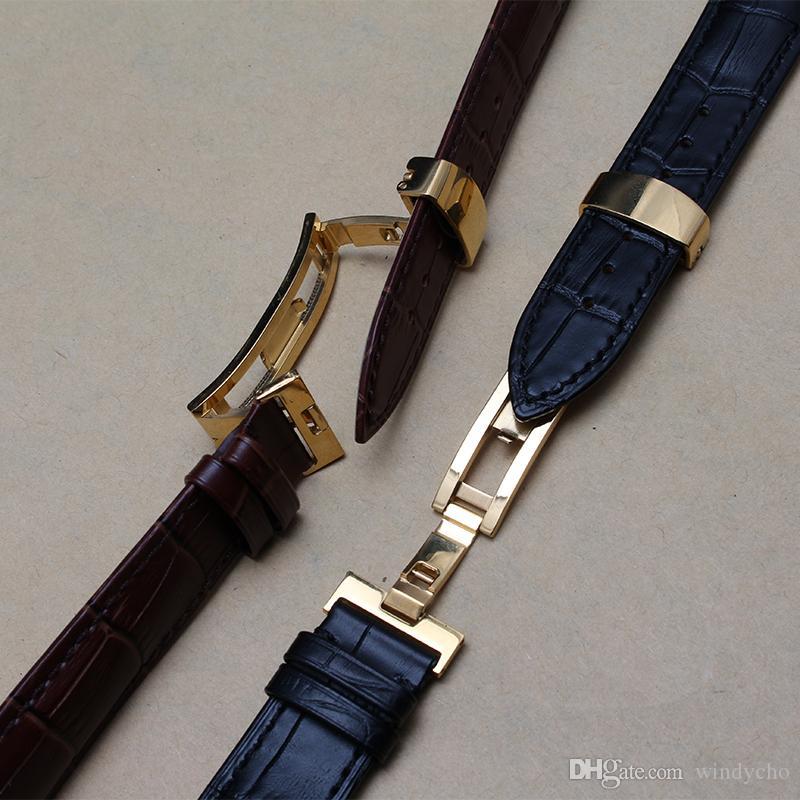 Nuovi cinturini a farfalla in oro con fibbia orologi 18mm 19mm 20mm 21mm 22mm cinturini in vera pelle uomini cinturini in promozione