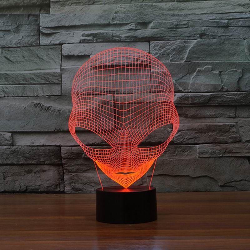 Lampe de table spéciale de forme extraterrestre LED de lumière de nuit 3D unique avec alimentation USB HR-3048 avec lumière de 7 couleurs.