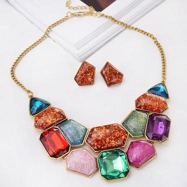 Extravagante Collar Pendiente Set Mujeres Geométrica Fake Gemstone Rojo Multi Color Gargantilla Chunky Declaración Colgante Bib Joyería conjunto
