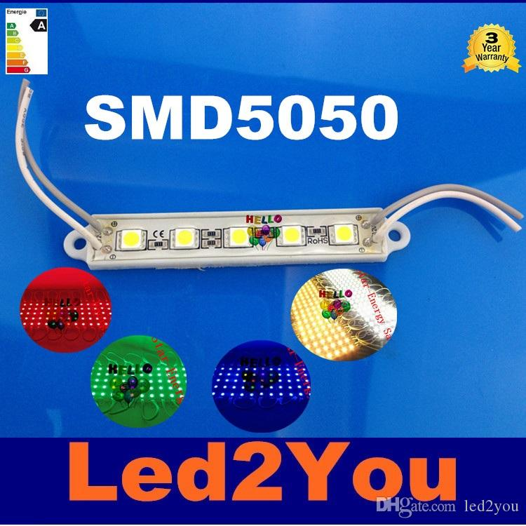 1000pcs 5-LEDS SMD 5050 LED Module Waterproof IP65 DC12V LED Backlight Advertisement Design LED Modules Lighting Free Shipping