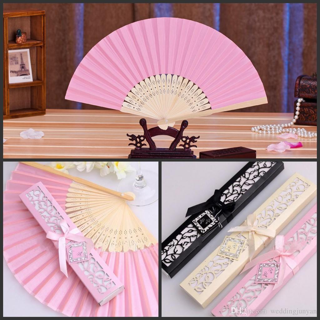 Fashion 21*37.5cm Silk Fan in Elegant Gift Box of wedding favors/Party Favors/wedding Gifts accessories giveaway centerpiece