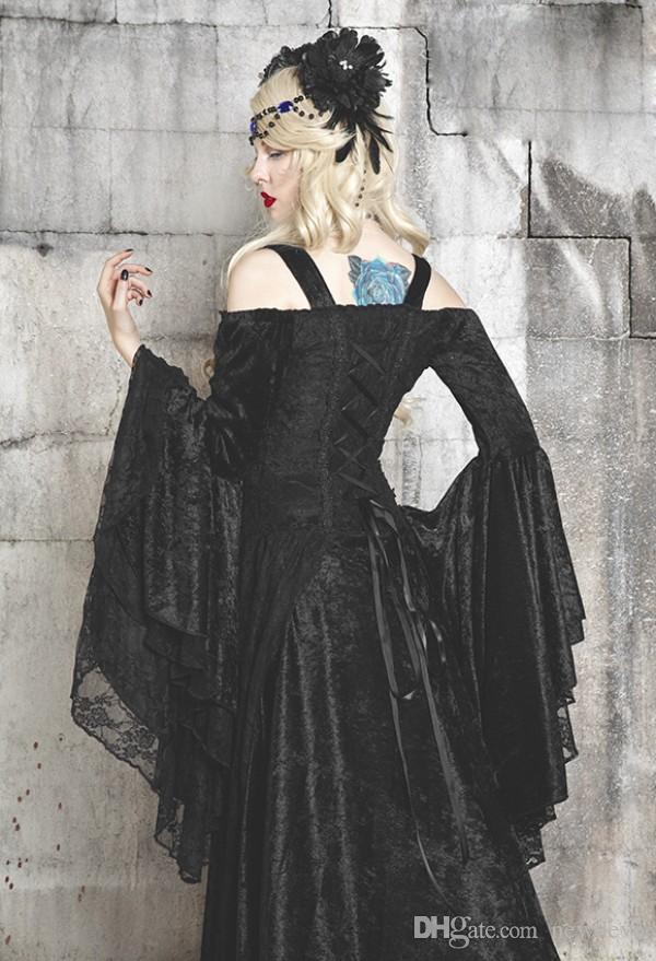 Halloween Costumes Fancy Prom Dress Off Shoulder Vampires Devils Cosplay Costume Long Sleeve Custom Made Victorian Ball Gown