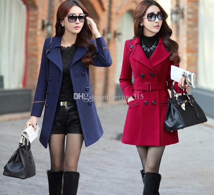 d053c64e487 2019 Korean Plus Size Winter Coats Women Lapel Neck Double Breasted Wool  Coat Long Tunic Woolen Overcoat Trench Coat Outerwear With Belt From  Beijing315