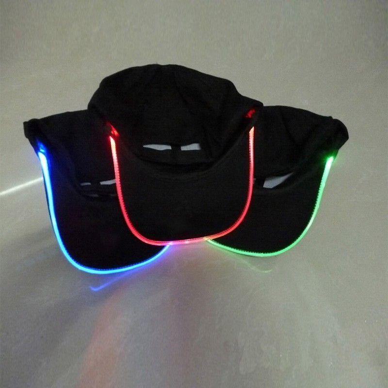 2016 Мода LED Подсветка Glow Club Party Черная Ткань Шляпа Путешествия Бейсболка