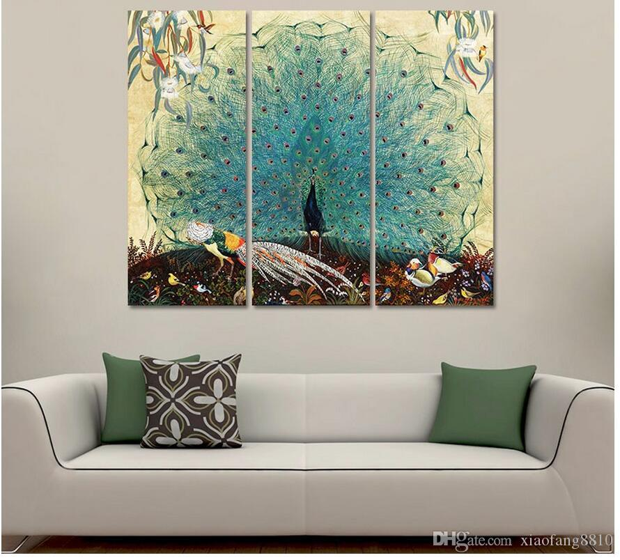 Luxurious Garden Animal birds Peacock Picture decoration peahen canvas painting wall Art living room printed home decor unframed