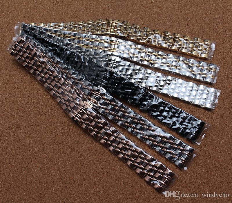 Nuevo 10mm12mm 14mm 16mm 18mm 20mm 22mm 24mm Plata Oro Rosa Oro Negro Acero inoxidable Correa Correa de malla Pulseras Correa de reloj Moda Caliente