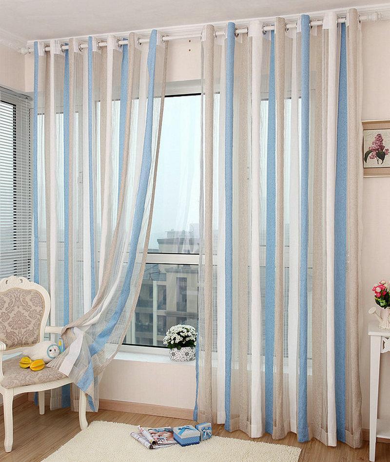 Acheter Chenille Sheer Rideau Pour Salon Chambre Rayé Vertical Pas De  Perles Coloré Style Moderne Traitement De La Fenêtre De $25.42 Du Bigmum |  ...