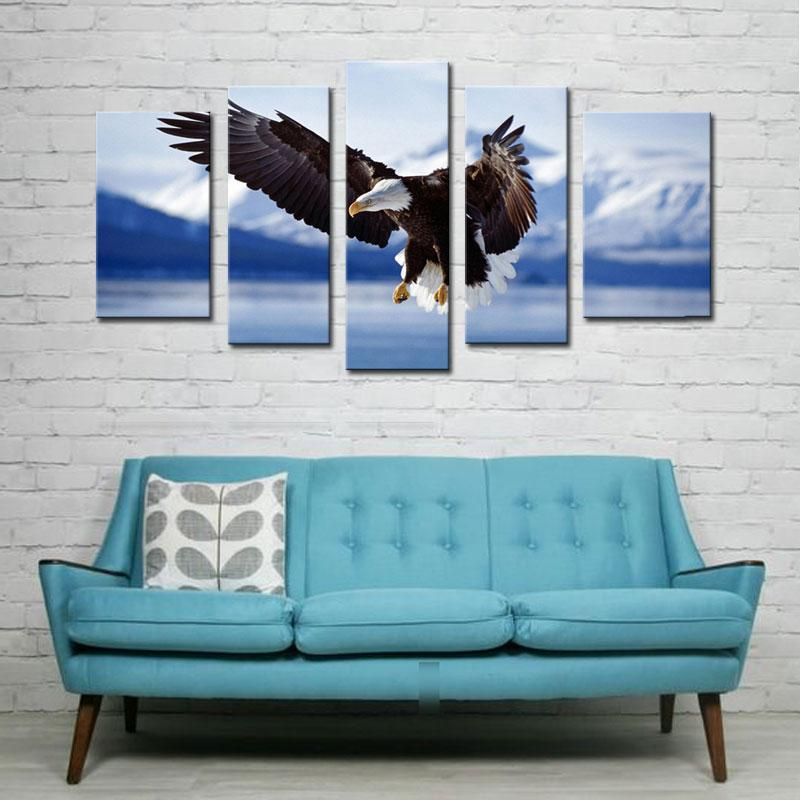 5 Picture Combination Modern Flying Eagle Picture Print to Photo Printed Paintings On Canvas Wall Art Decor for Home Decoration