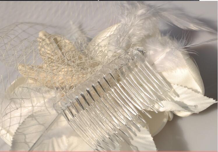 Boda Birdcage velos Champagne Marfil Flores blancas Pluma Birdcage Velo Sombrero nupcial Piezas de pelo Accesorios nupciales BV03