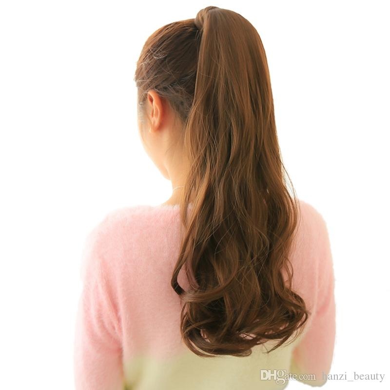 24'' Long Wavy Ponytail Natural Clip In Pony Tail Hair Extensions Wrap On Fake Hair Piece Fake Hair Tail Ponytails