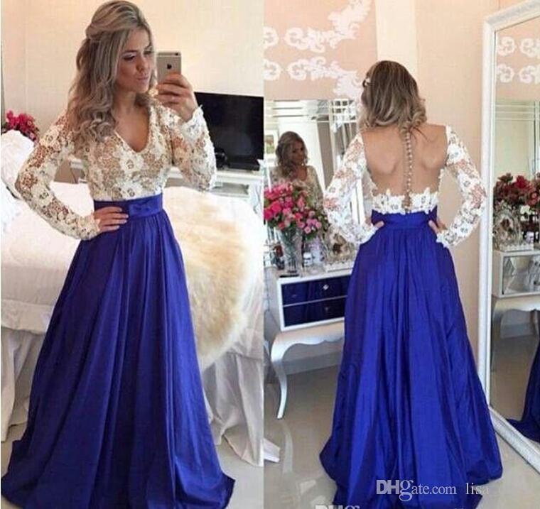 Royal azul Modest Prom Vestidos Com Mangas Compridas V Neck Pérolas Ilusão Voltar Lace Tafetá Adolescentes Elegantes Prom Vestidos Mangas Compridas Venda Barato