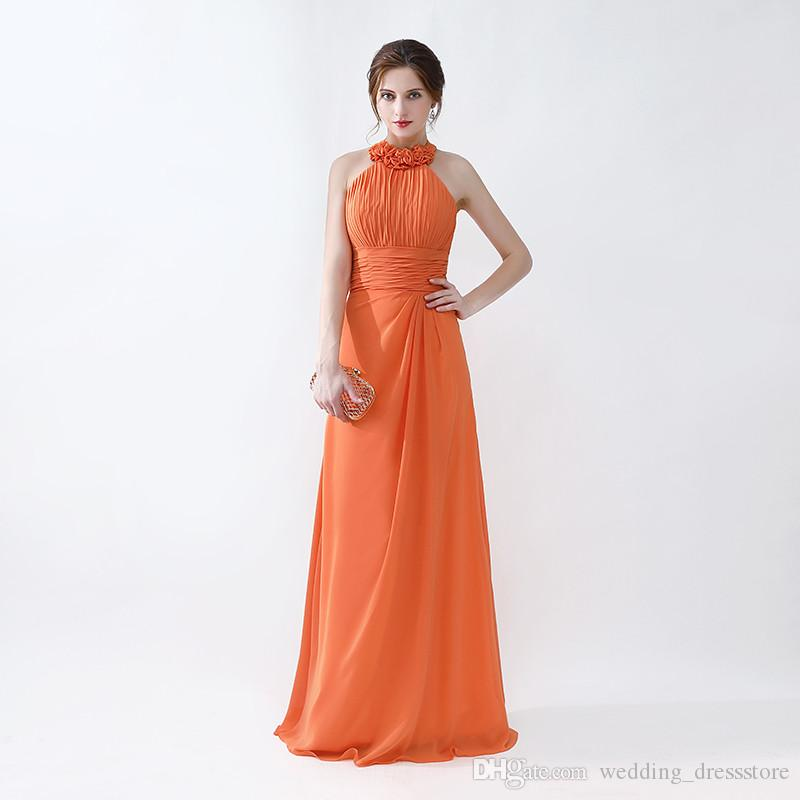 High Quality Prom Dresses Halter Neck Long Style Orange Evening ...