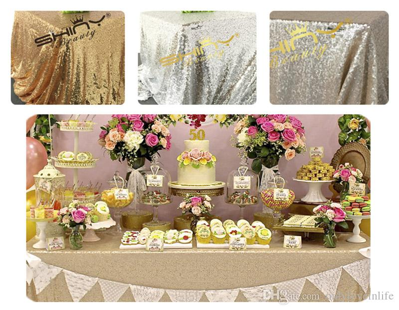 Finest 125x180cm Champagne/Gold/Silver Embroidery Mesh Sequin Tablecloth  UZ51
