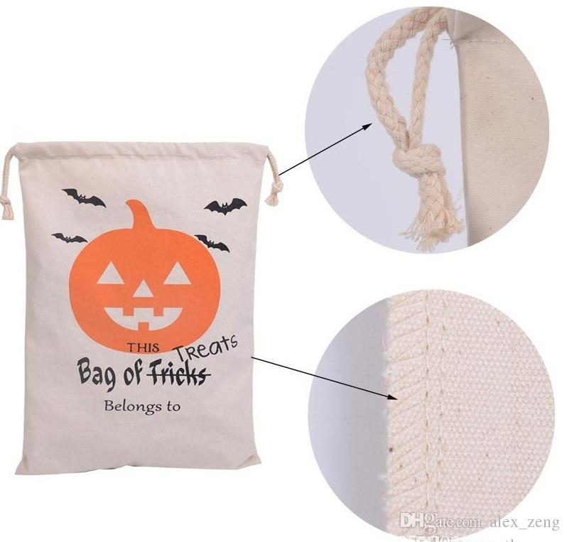 2017Hot Sale Halloween Gift Bags Large Cotton Canvas Hand Bags Pumpkin Devil Spider Printed Halloween Candy Gift Bags