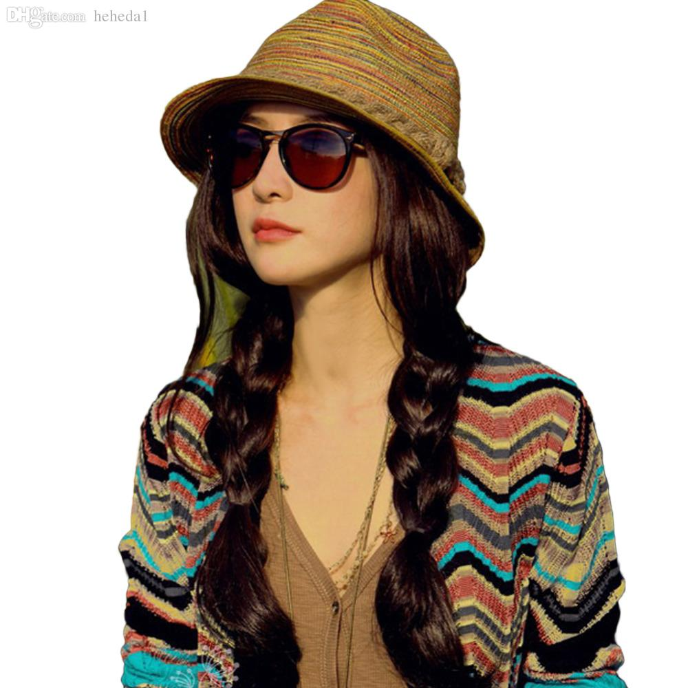 Wholesale Hot New Fashion Women Ladies Summer Hats Girls Casual Floppy  Straw Sun Hat Striped Caps Bohemia Beach Hats For Women Cheap Z1 Sun Hats  For Men ... 1ddf586b0