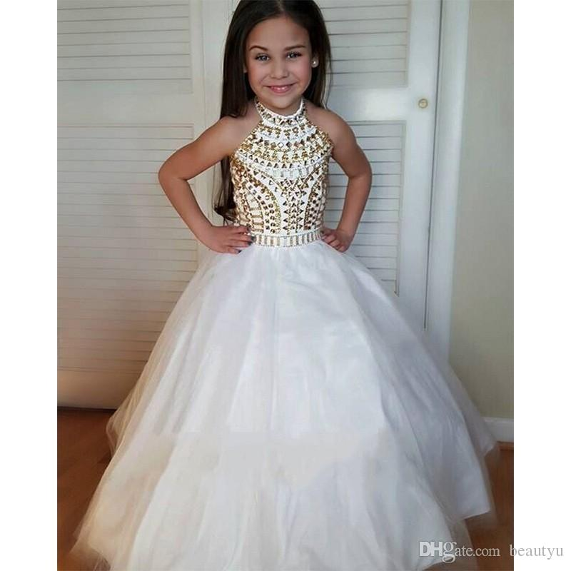 Sparkly Gold Crystals Ball Gown Flower Girl Dresses Halter Backless White Little  Girls Pageant Dress 2018 Kids First Birthday Party Gown Flower Girl Dress  ... db6a06bdf2ec