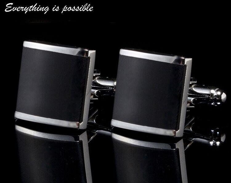 Emaille-Manschettenknöpfe Schwarzes Quadrat Manschettenknöpfe Hemden Manschettenknöpfe für Mens-Schmuck Französische Manschettenknöpfe, die beste Väter-Tagesweihnachtsgeschenk heiraten