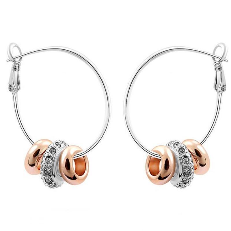 Boucles d'oreilles de marques de mode coréennes pour fille 18 carats de bijoux en or Crystal Hoop Boucles d'oreilles Faire avec Swarovski Elements Livraison Gratuite 1080