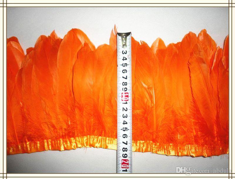 Дешевые гусиное перо обрезки перо бахрома 2 метра / лот гусиное перо отделка бахрома 15-18 см шириной для шитья костюмы украшения гусиные планки