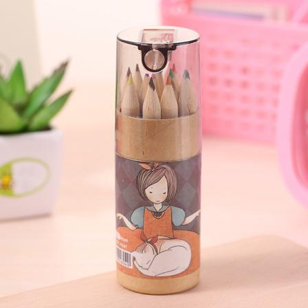 Pure Kraft barreled color painting pen coloring pencils with pencil sharpener children gift