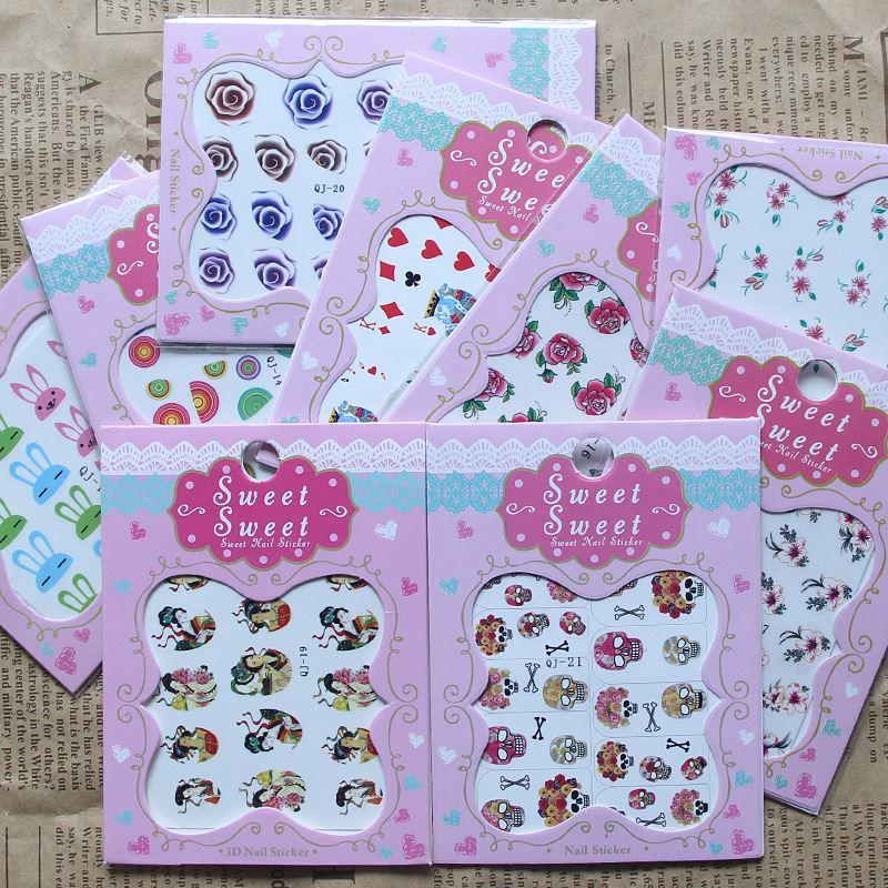 Qj-13-21 Qj Posted A Small Stick Stick Manicure Water Nail Decals Wholesale Candy Color Cartoon Ctue Nail Stickers