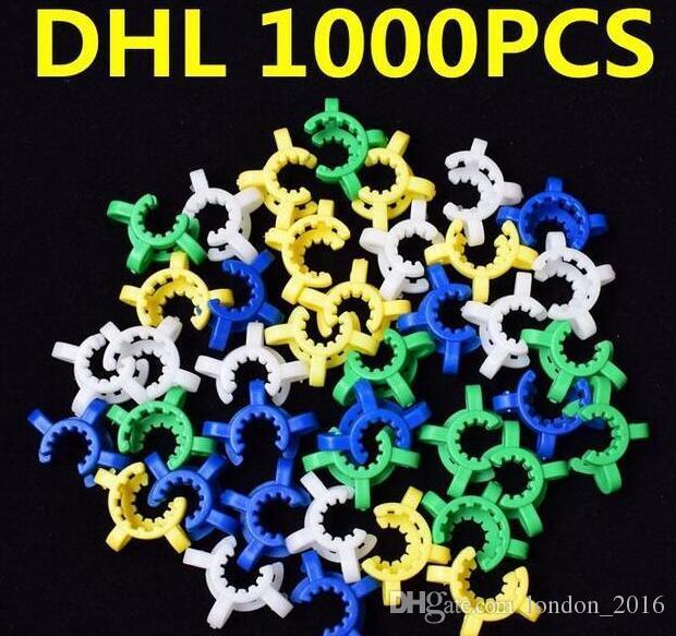 Pupular 10mm 14mm 19mm 플라스틱 켁 클립 실험실 연구실 클램프 클립 플라스틱 잠금 장치 유리 흡연 파이프 용 유리 어댑터 dab rig 유리 봉