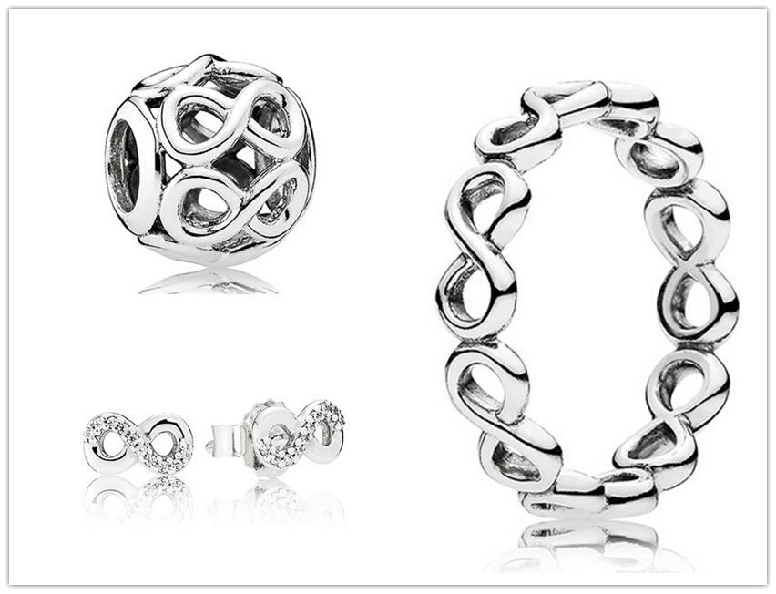 925 Sterling Silber Ring Ohrringe und Schmuck Charms Anhänger Sets mit Box passt europäischen Schmuck Armbänder Halsketten-Infinite Shine Set