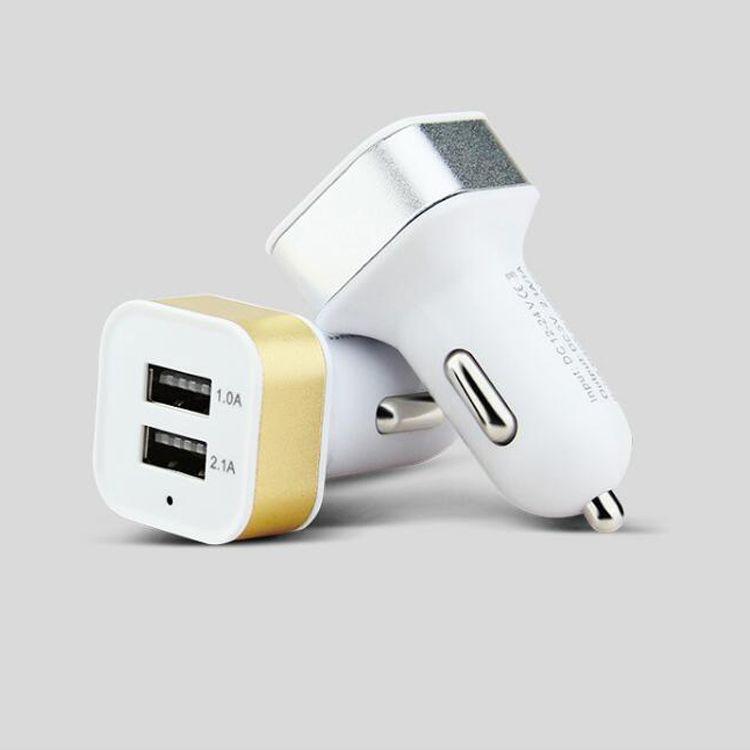 Mini chargeur de téléphone de voiture rond / carré, adaptateur de charge rapide 2.1A / 1.0A, adaptateur d'alimentation micro automatique, mamelon double port USB 2
