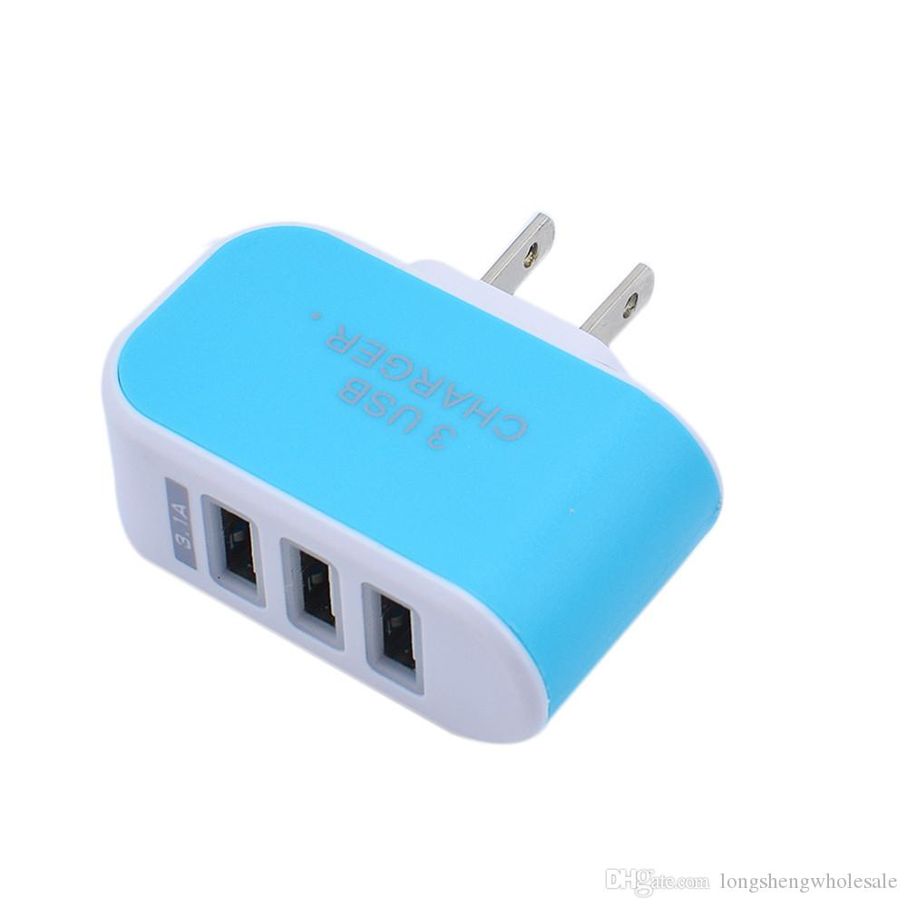 US EU Plug 3 USB Wall Chargers 5V 3.1A LED Adapter Travel Convenient Power Adaptor with triple USB Ports For Mobile Phone