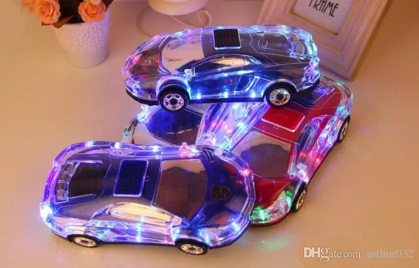 Portable Bluetooth Wieless Speaker Colorful Crystal LED Light Mini Car Shape Amplifier Loudspeaker Support TF FM MP3 Music Player MLL-63