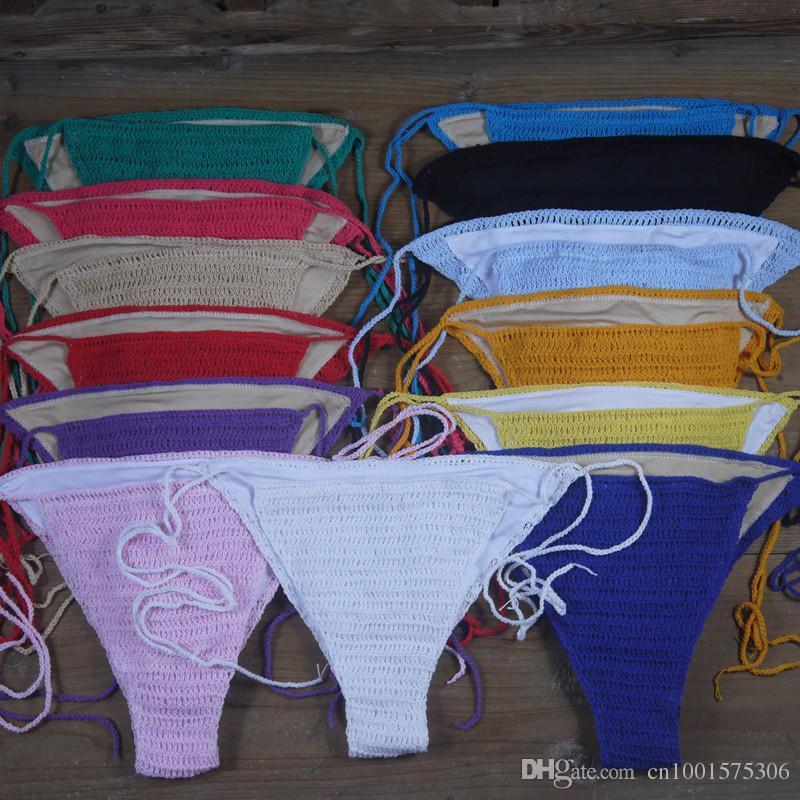 Vintage sexy summer Handmade White lacy bikini Sets, crochet swimwear crop top + bottom Lining