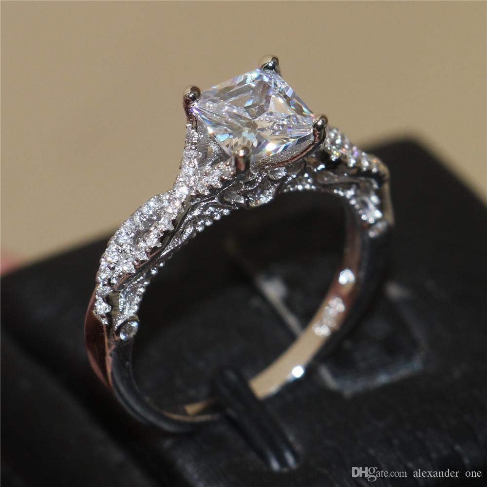 Mujeres de la moda Cuadrado Diamante Circón Lado Bandas de Piedra Laterales Conjuntos de anillos 925 Compromiso de Plata Novia Joyería de La Boda SZ 5-10