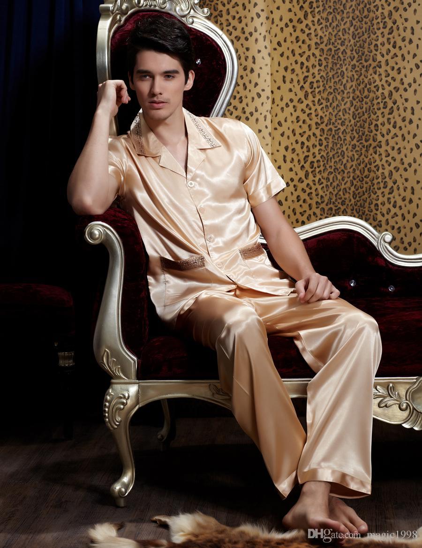 Пижама New Rushed 2019 Летние мужские пижамные комплекты с вышивкой Пижамы Модные пижамные пижамы из искусственного шелка 1901