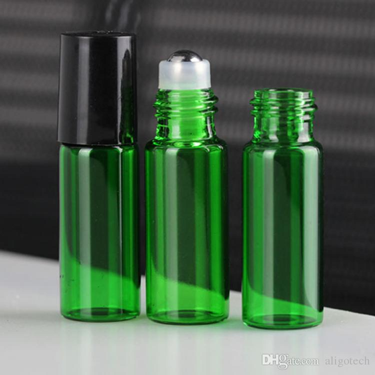 New Popular 5ML Colorful Glass Roll On Bottles for Essential Oil Perfume with Stainless Steel Roller And Black Cap Free-DHL
