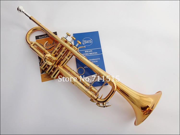 Professional Exquisite Bach Brass Bb Trumpet TR-180GS Gold Lacquer Surface  Trumpet Instruments Trompeta With Case 7c Mouthpiece
