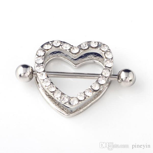 Mescolare i colori cuore capezzolo piercing capezzoli anelli gioielli piercing mamilo barbell capezzoli piercing anelli 316L medico C028