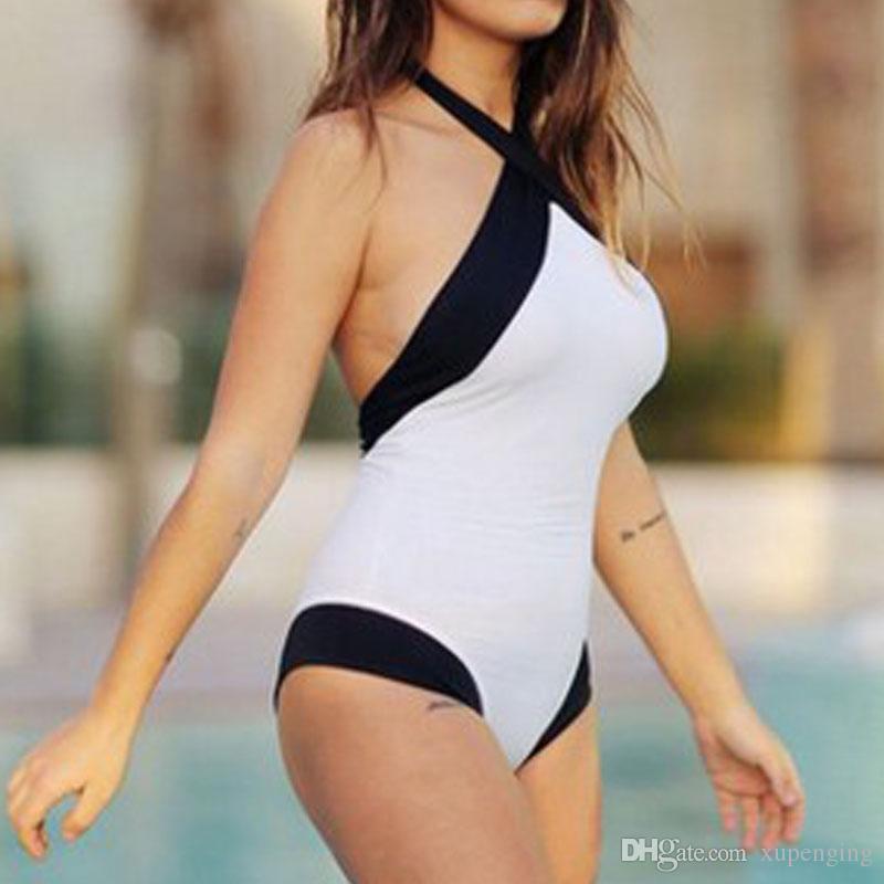 2016 женщин черный белый пэчворк крест-накрест спинки купальный костюм бразильский Biquini монокини купальники купальники боди S M-XL