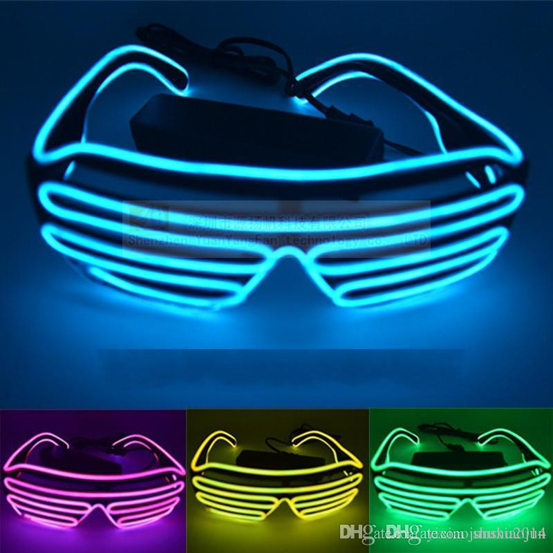 9a9a8800a85d The Shutters El Glasses Fashion Neon LED Light Up Shutter Shaped Glow Sun Glasses  Rave Costume Party DJ Bright SunGlasses Online with  5.73 Piece on ...