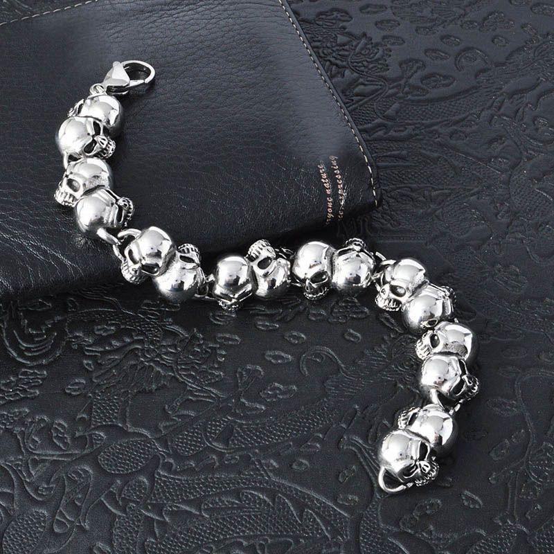Hommes Exagéré Pulseras Titane Acier Crâne Bracelets Bracelets Bracelet Haut Poli À La Mode Bijoux Punk Brace Dentelle