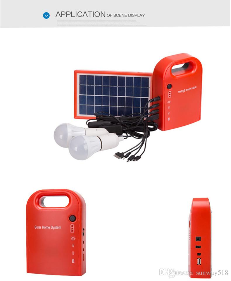 Solar power system home Power Supply Solar Generator Field Emergency Charging Led Lighting System With Lamps
