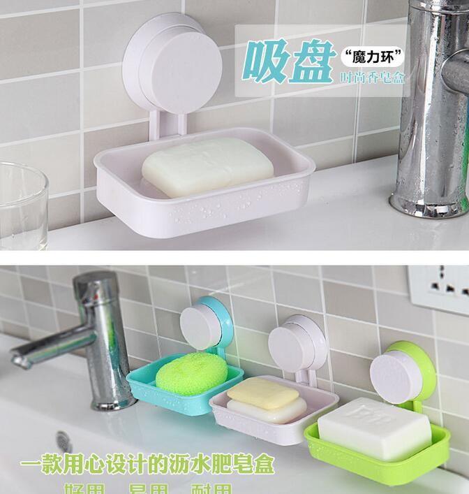 Nouvelle salle de bain accessoires coréen mode ventouse souple porte-savon boîte à savon porte-savon avec ventouse tissu éponge plaque de rangement