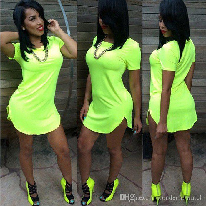 Plus size Sexy Club Dress 2016 Women mini vestido irregularity t-shirt Dress summer style bandage Bodycon Beach dress