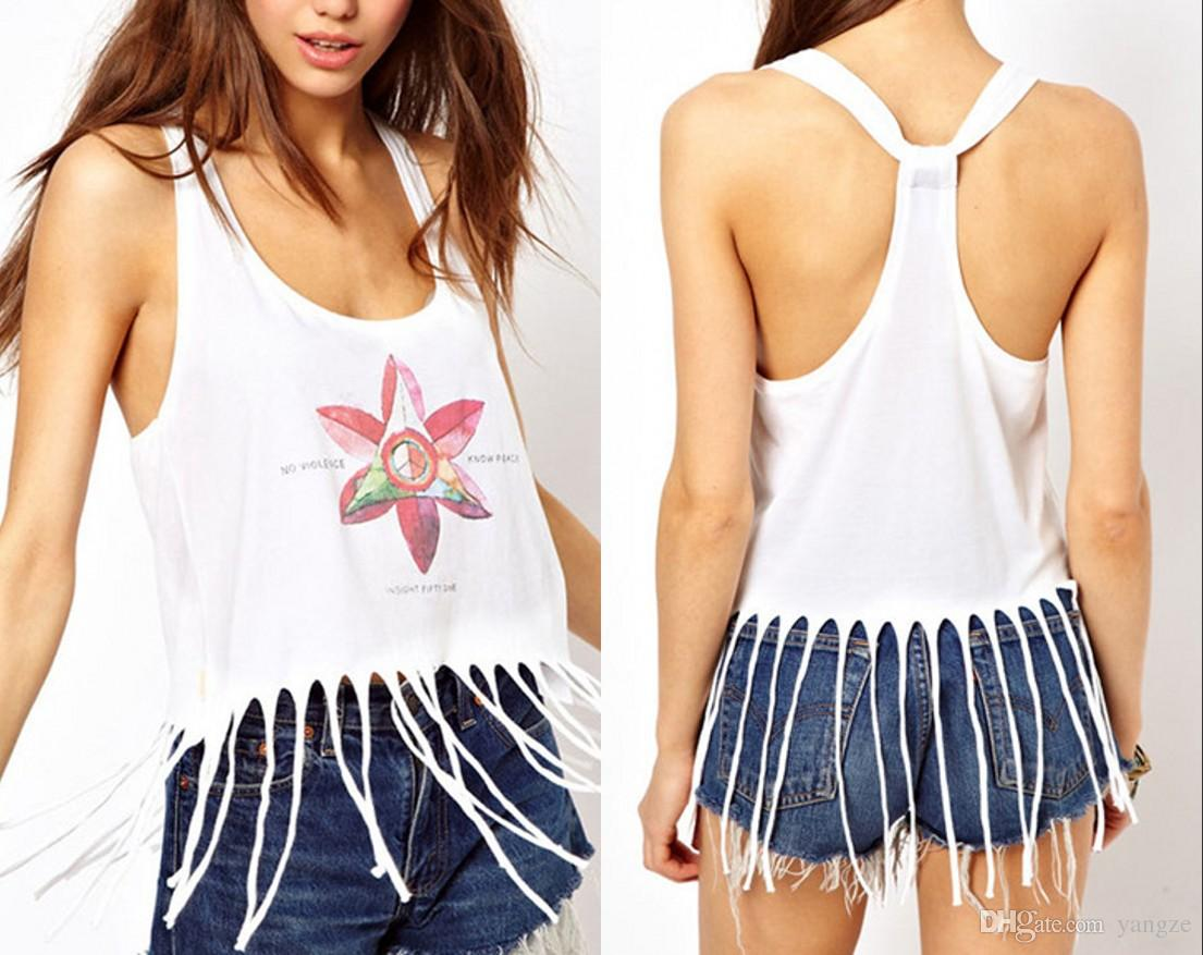 8e60fbcc1362 2016 Summer Fashion Women Tank Tops Floral Print Sleeveless T Shirt Sexy Low  Cut Tassle Fringe Crop Top Vest Blouse 2XL WY6942 From Yangze