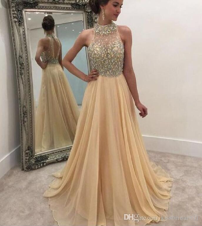 Champagne Beading 2018 Prom Dresses Shinny Crystal Formal 2019 Party Gowns  High Collar Open Back Gold Chiffon Girls Pageant Dress Canada 2019 From ... 459d59f93b63