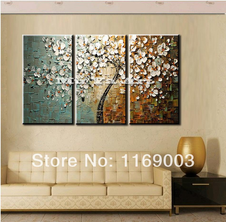 2018 3 Panel Wall Art Canvas Tree Acrylic Decorative Pictures Hand Painted  Decoraion Painting Oil Paintings Modern Flower On Canvas From New_dv, ...