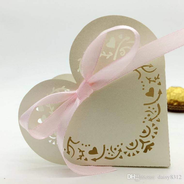 Laser Cut Heart Hollow Candy Box Chocolates Boxes With Ribbon For Wedding Party Baby Shower Favor Gift